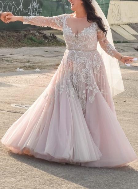 Blush Plus Size Wedding Dress,Modest Long Sleeve lace Wedding Dress from  Sancta Sophia
