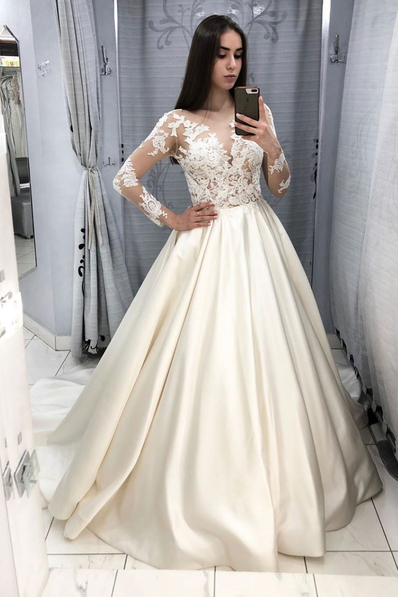 Elegant White Sheer Lace Ball Gowns White Long Sleeves Satin Prom Dress Hellomisspuff Online Store Powered By Storenvy