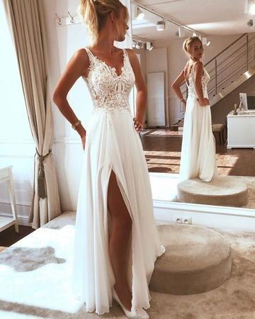 Romantic Wedding Dress Chiffon Wedding Dress A Line Wedding Dress V Neck Wedding Dress W370 Babystyle Online Store Powered By Storenvy