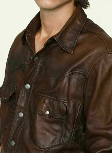 Men/'s Leather Shirt Genuine Lambskin Soft Basic Vintage Jacket Biker