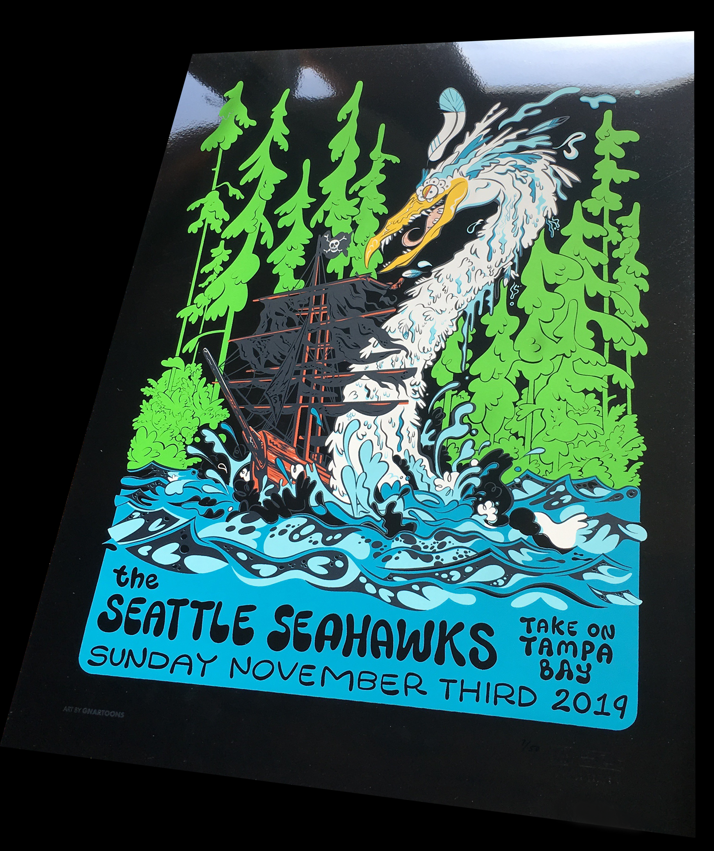 Seattle Seahawks Gameday Print Mirror Foil Gnartoons By James The Stanton Online Store Powered By Storenvy