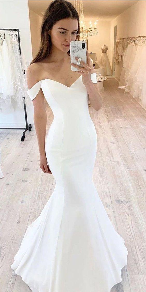 Simple Wedding Dress Mermaid Wedding Dress Off Shoulder Wedding Dress Joepaldress Online Store Powered By Storenvy