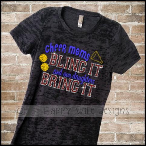 Cheer Mom Rhinestone And Glitter Burnout Shirt 183 Happy