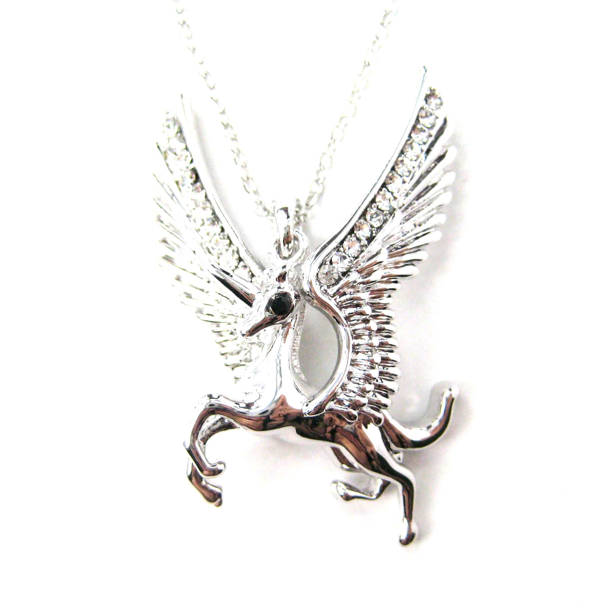 Pegasus Unicorn Shaped Animal Pendant Necklace In Silver
