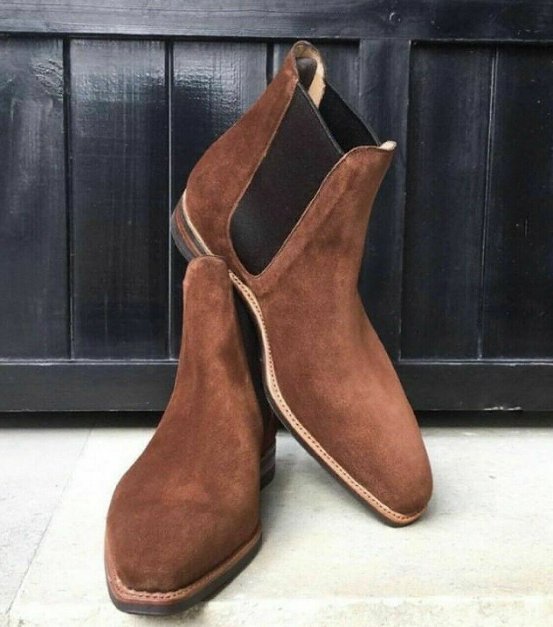 Mens Brown Square Toe Suede Chelsea Boots Men Elegant Casual Suede Chelsea Boots Rangoli Collection Online Store Powered By Storenvy
