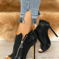 Side Zipper Ankle Boots Women's Super High Heel Large Size Fish Mouth Single Shoes G9524 - Thumbnail 1
