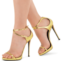 Women's Golden Patent Leather Bag With Cross Buckle High Heel Sandals G6685 - Thumbnail 1