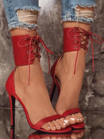 Red Snake Textured Strappy Simple Sexy High-Heeled Sandals G6751