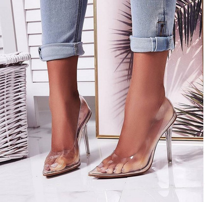 Pretty Pointed Toe Transparent High Heeled Crystal Heel Women's Shoes G6752