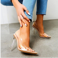 Pretty Pointed Toe Transparent High Heeled Crystal Heel Women's Shoes G6752 - Thumbnail 1