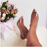Pretty Pointed Toe Transparent High Heeled Crystal Heel Women's Shoes G6752 - Thumbnail 2