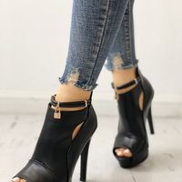 Black Solid Cut Out Platform Thin Heeled Sandals F6752 - Thumbnail 1