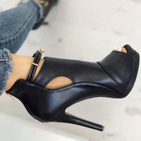 Black Solid Cut Out Platform Thin Heeled Sandals F6752 - Thumbnail 3