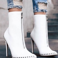 White Elegant Womens Boots Ankle Short Super High Solid Vintage Boots F8520 - Thumbnail 1