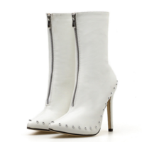 White Elegant Womens Boots Ankle Short Super High Solid Vintage Boots F8520 - Thumbnail 2
