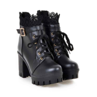 Ankle Boots Shoes Super Heeled Chunky Heel Lace Up Martin Boots F6852 - Thumbnail 3