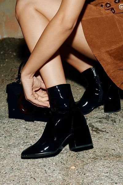 Winter New Patent Leather Boots Martin Boots High-heeled Knight Boots Black G6751