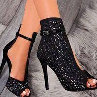 Explosion Style Women's Sandals New Fish Head Rhinestone Hollow Hollow Ultra-high Heel Sandals G6752 - Thumbnail 3
