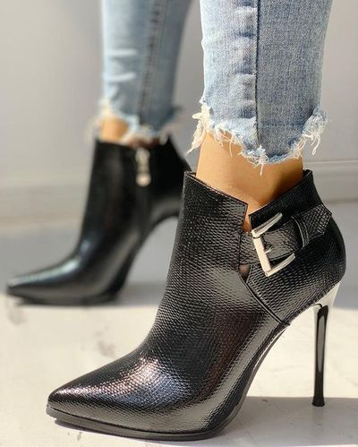 Single Boot Pointed Toe Stiletto Martin Boots High Heel Ankle Boots Sexy Plus Velvet Boots H6752