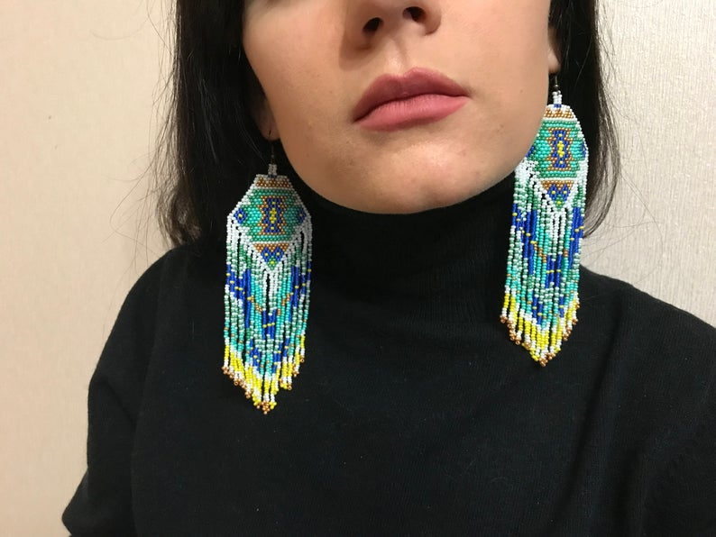 Handmade Blue And White Native America Inspired Beaded Earrings Native American Style Bead Earring American Style Big Earring Big Earrings Sold By Parchevalier On Storenvy