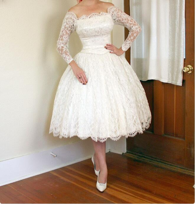 Ivory Off The Shoulder Bateau Lace Wedding Dress 3 4 Sleeves Ball Gown 1950s Vintage Wedding Dresses 328 Sold By Elisepromdresses On Storenvy