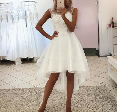 High Low Short Wedding Dresses Sleeveless Jewel Neck Beads Sequins Appliques Lace Short Front Long Back Bridal Gowns Sold By Misszhu Bridal On Storenvy