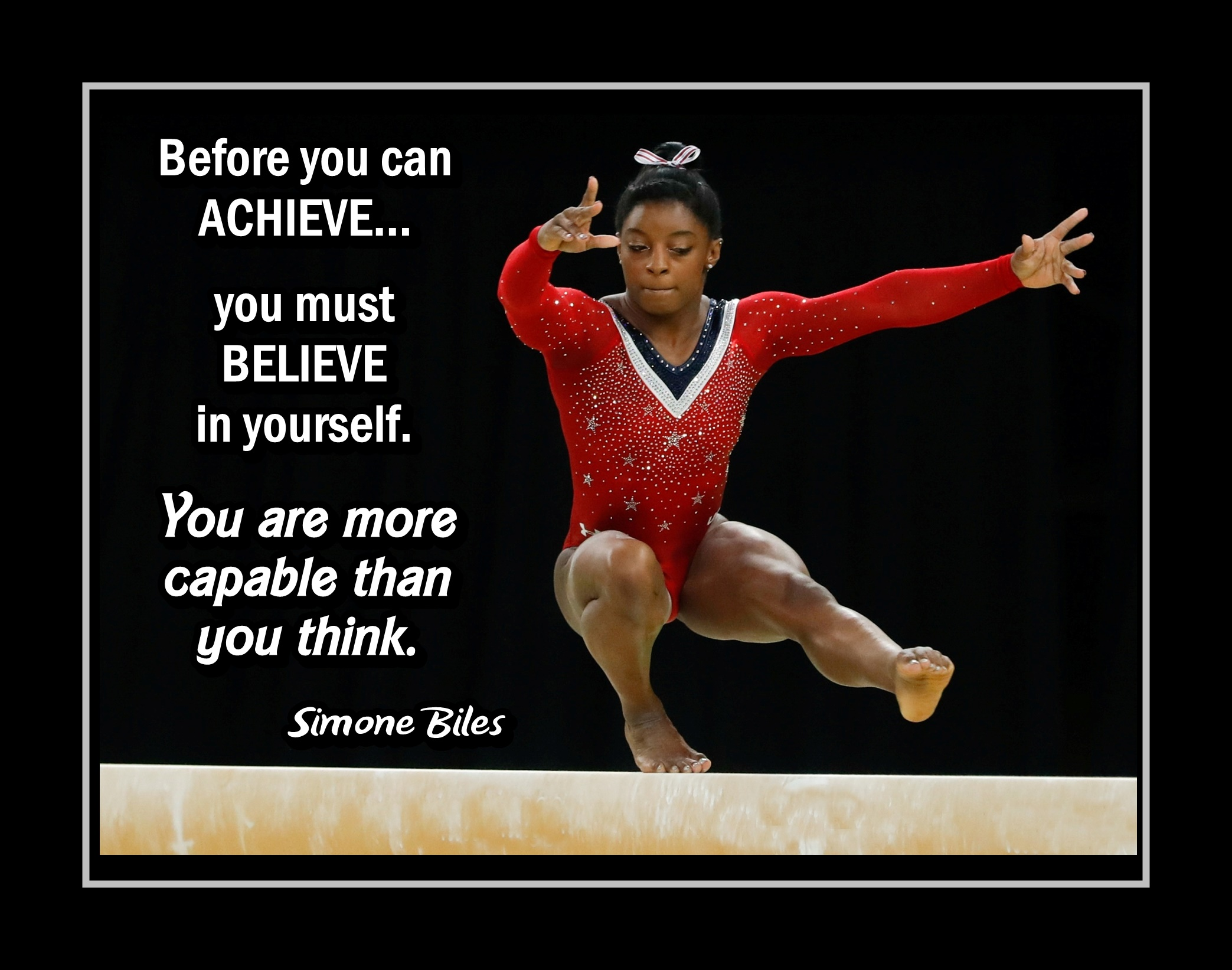 """Simone Biles Inspirational Gymnastics Quote Poster #1 Champion Gymnast Wall  Art Gift """"You Are More Capable Than You Think"""" sold by ArleyArt on Storenvy"""