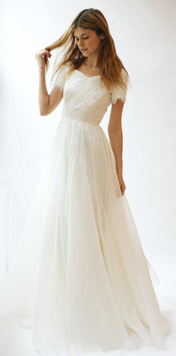 Modest Simple Beach Wedding Dresses 2020 A Line Lace Appliqued Bridal Gowns Short Sleeve Plus Size Wedding Dress Sold By Nikebridal On Storenvy,Dip Dye Wedding Dress Blue