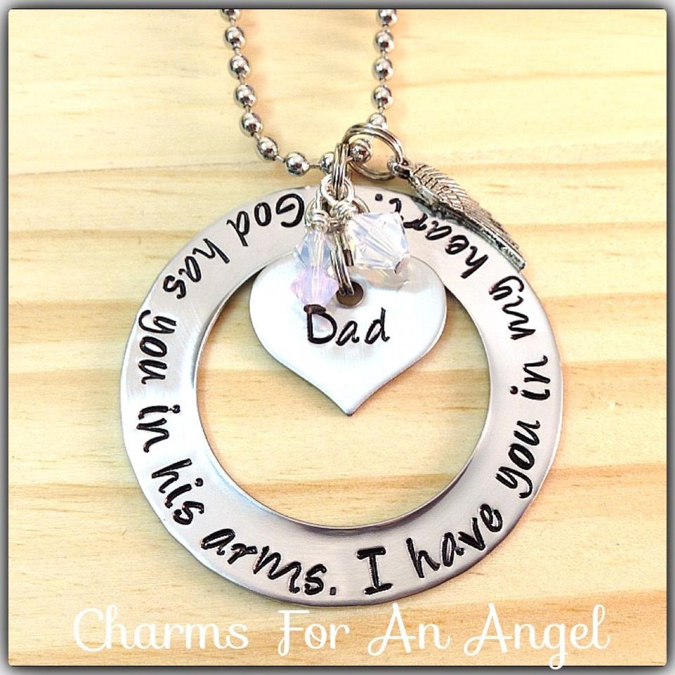 Hand stamped my angel heart necklace god has you in his arms i have 312372 483357971700528 2091795345 n original aloadofball Choice Image