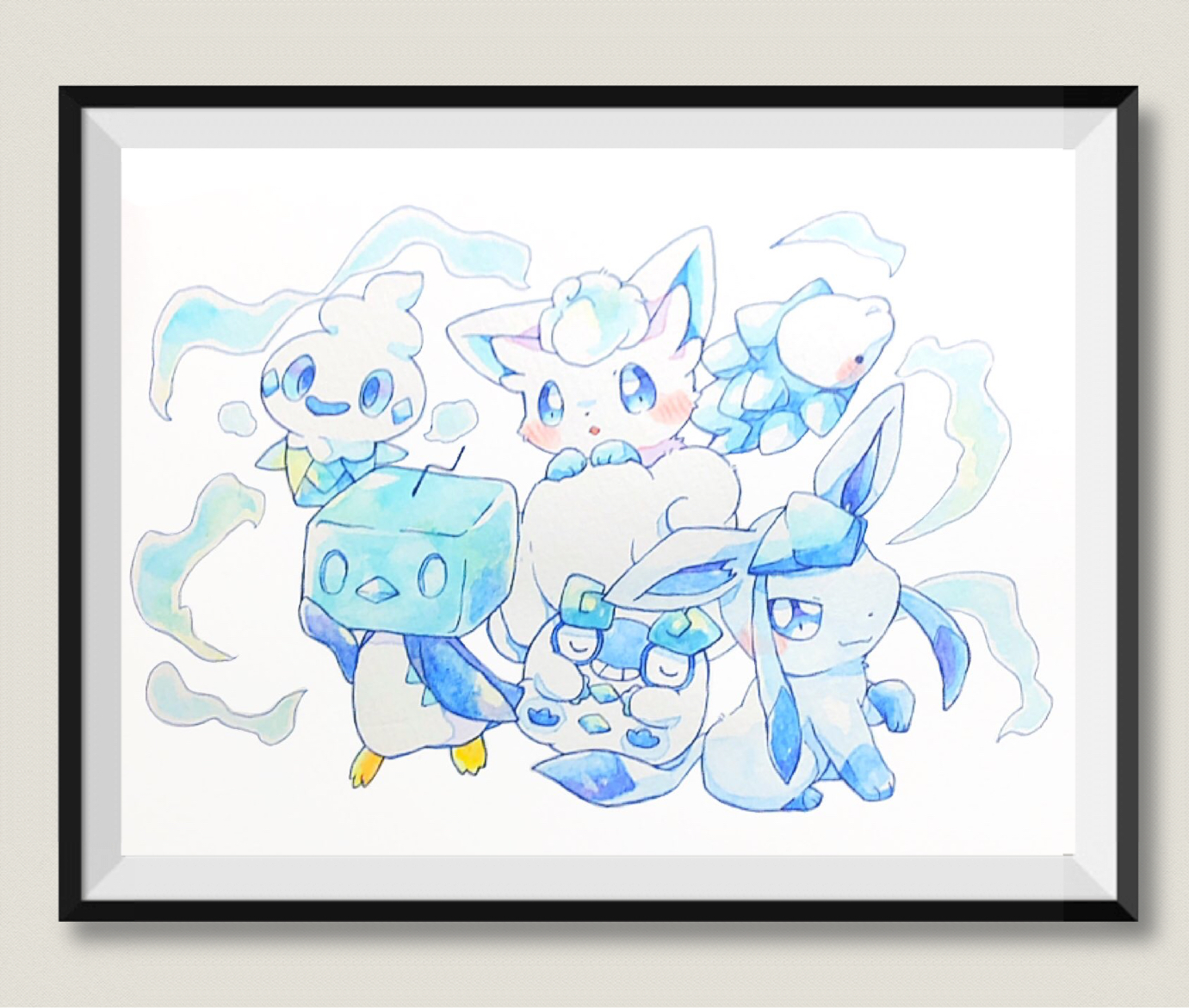 ice pokemon watercolor poster handmade canvas print art a3 a4 poster ambivertdraws online store powered by storenvy ambivertdraws storenvy