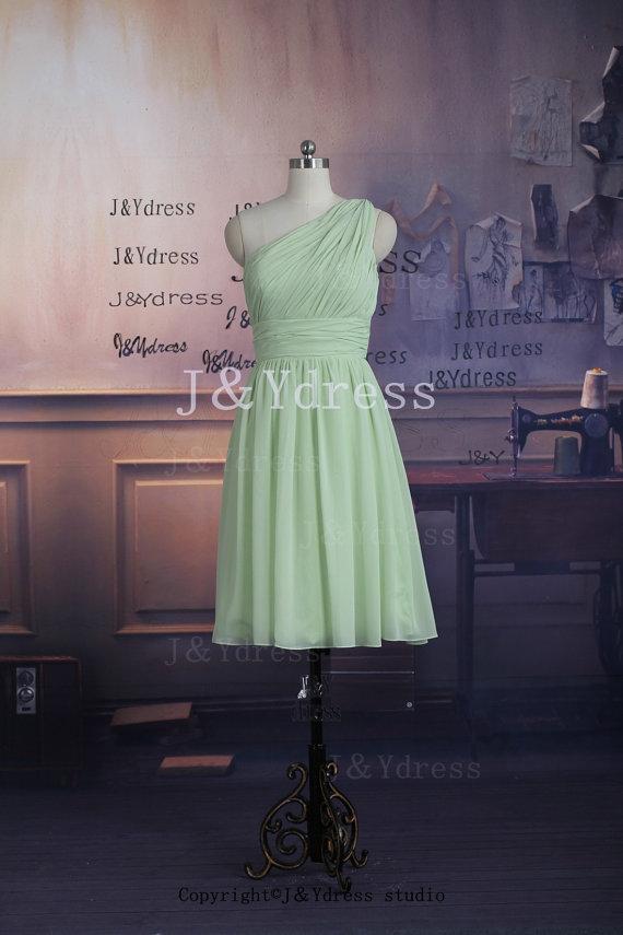 7fcee2ffd5e Popular One Shoulder Knee Length Chiffon Bridesmaid Dress on Storenvy
