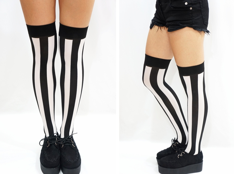 e306c5981 B W Vertical Striped Pastel Goth Thigh high Stockings on Storenvy
