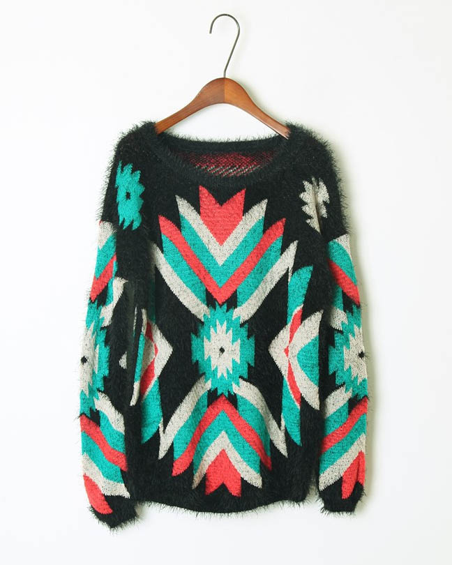9fedc2d6081f Scoop Neck Tribal Pattern Sweater · Sizzle ·