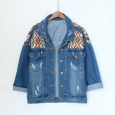 d1a69730a057 Tribal pattern denim jacket