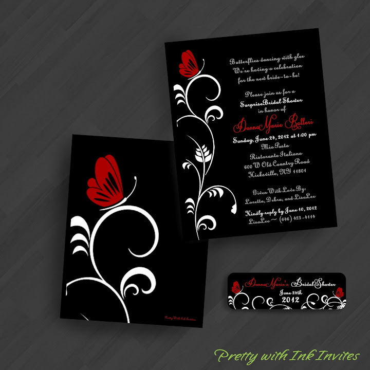 Cool wedding invitations for the ceremony Elegant black and red