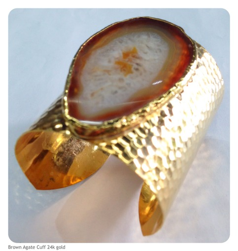 Brown Agate Cuff Bracelet 24k Gold Plated 183 Beadshines